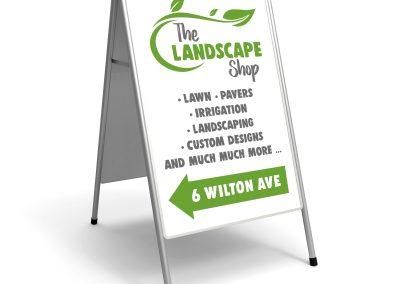 A-frame landscape shop sign
